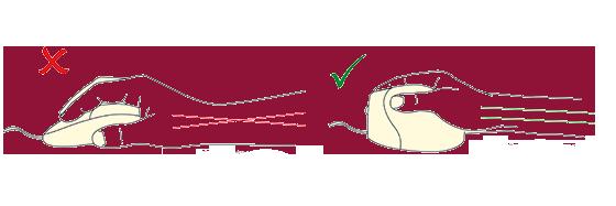 Hand schut houding ergonomische muis